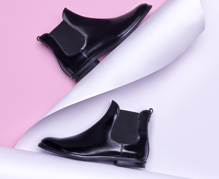 shiny black ankle boot