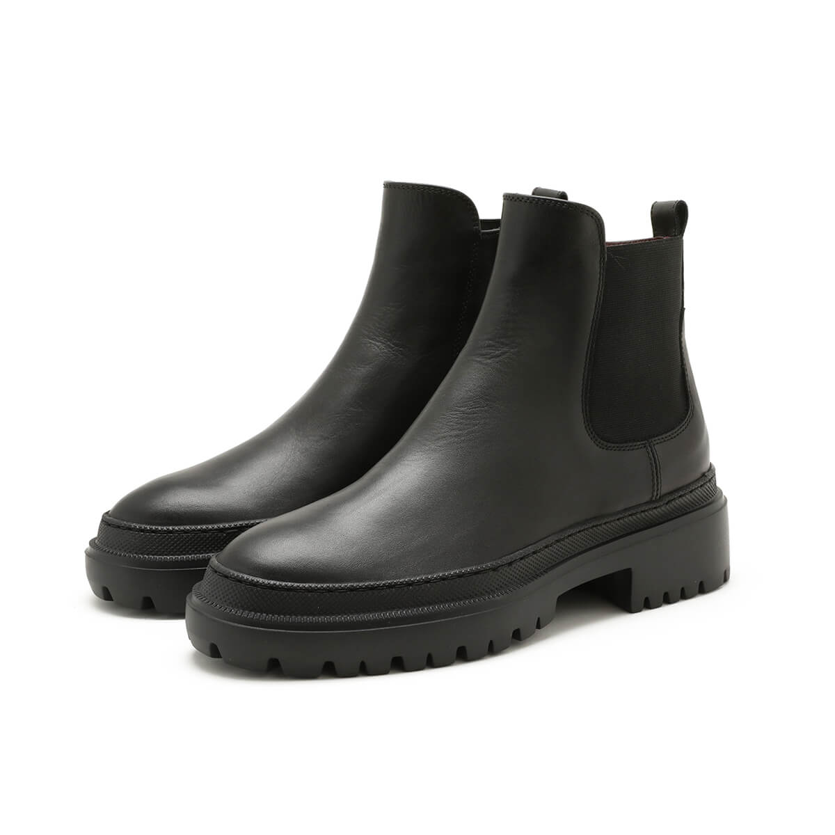 Chunky Beatles Boots, black leather