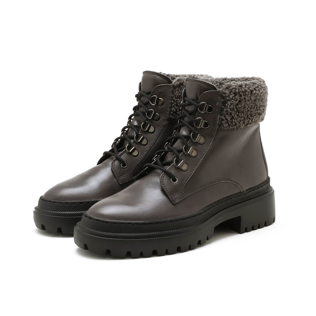 Fur lined Chunky Smoke lace up Bootie