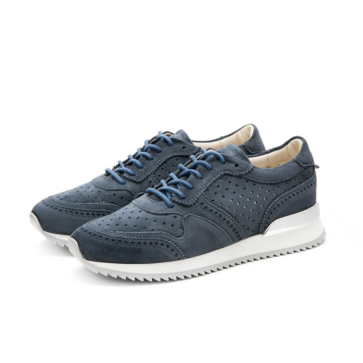 Running Sneaker perforata denim